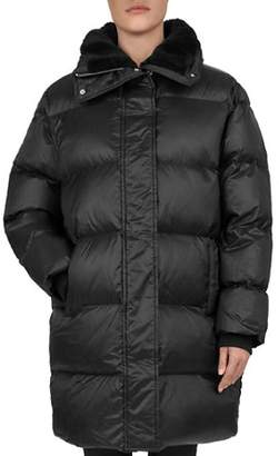 The Kooples Faux-Fur Collar Quilted Puffer Coat