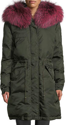 Mr & Mrs Italy Mr&Mrs Italy Zip-Front Puffer Jacket with Fox-Fur Hood