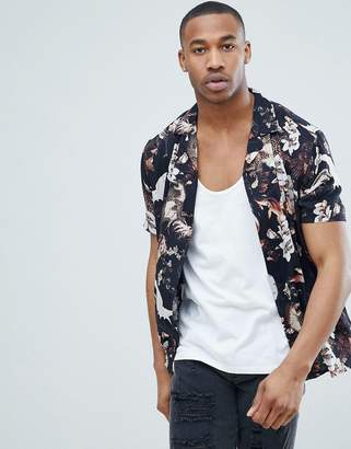 Asos Design Regular Fit Bird And Floral Print Shirt With Revere Collar