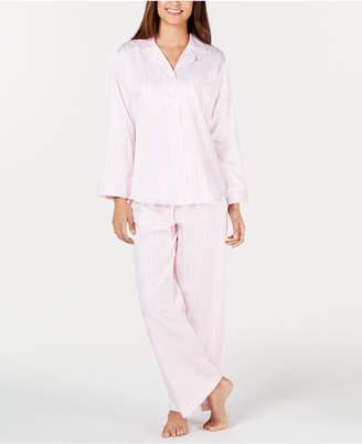 Miss Elaine Brushed-Back Satin Button-Front Pajama Set