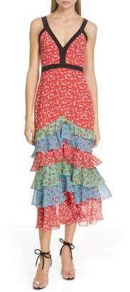 Saloni Lana Tiered Hem Silk Midi Dress