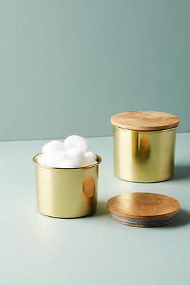 Anthropologie Gold Reflection Canister Set