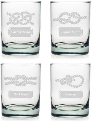 Susquehanna Glass Nautical Knots Set Of 4 Rocks Glasses