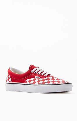 Vans Women's Red Era Checkerboard Authentic Sneakers