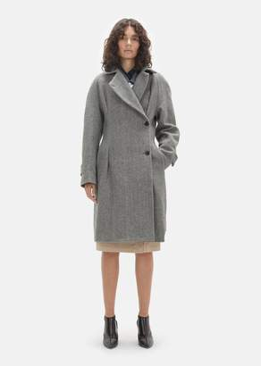 Lutz Huelle Herringbone Wool Coat Grey