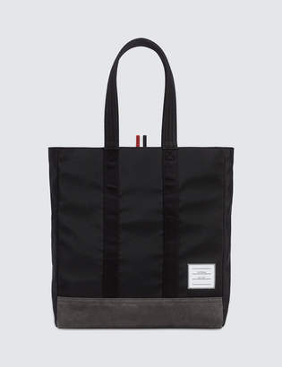 Thom Browne Unstructured Tote In Nylon Tech W/ Jersey Backing + Suede