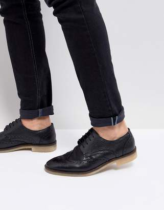 Asos Design Casual Brogue Shoes In Black Leather With Natural Sole