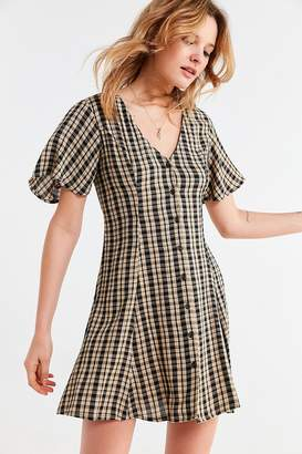 Urban Outfitters Plaid Button-Down Lace-Up Mini Dress