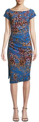 Chiara Boni Devsi Animal-Print Short-Sleeve Dress
