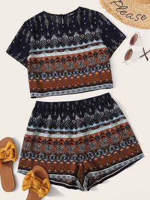 Shein Mock-neck Tribal Print Crop Top and Shorts Set