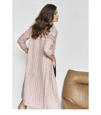 Dynamite Ribbed Open Front Cardigan OLD ROSE MELANGE