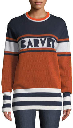 Carven Colorblock Logo Crewneck Pullover Sweater