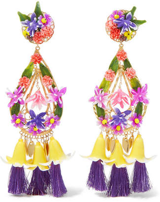 Mercedes Salazar Tasseled Gold-plated And Resin Clip Earrings - Yellow