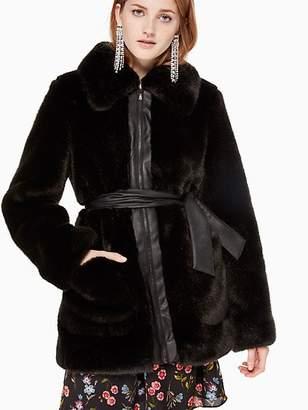 Kate Spade Faux Fur Leather Trim Coat, Black - Size L