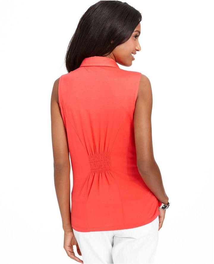 Style&Co. Top, Sleeveless Studded-Collar Button-Down Shirt