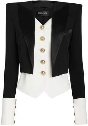 Balmain Layered Satin Crepe Tuxedo Blazer