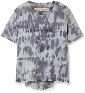 Raquel Allegra Distressed Tie-dyed Cotton-blend Jersey T-shirt - Sky blue