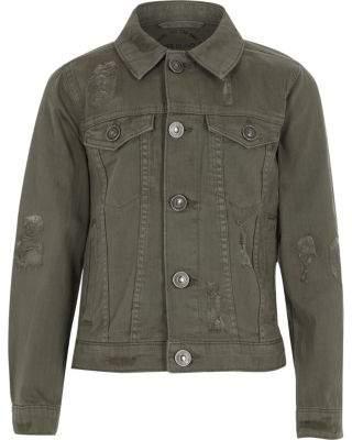 River Island Boys khaki denim trucker jacket