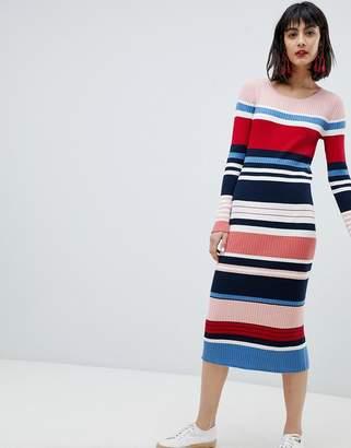 Esprit Stripe Column Midi Dress