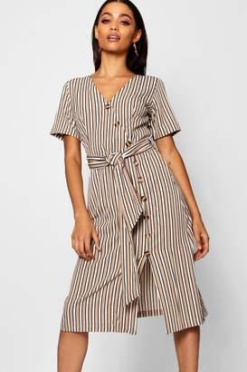 boohoo Stripe Short Sleeved Button Midi Dress