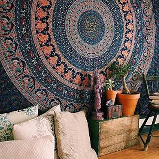 N. Craft Craft India Wall Tapestry - Hanging Mandala Tapestries – Bohemian Beach Picnic Blanket – Hippie Decorative & Psychedelic Dorm Decor - 92 x 82 Inch (Queen)