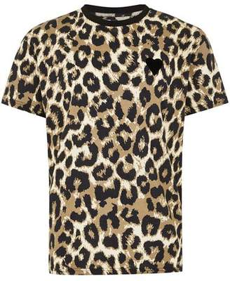 Topman Mens Brown Leopard Print T-Shirt