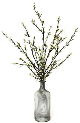 "One Kings Lane 40"" Pussy Willow Arrangement with Bottle Vase - Faux"