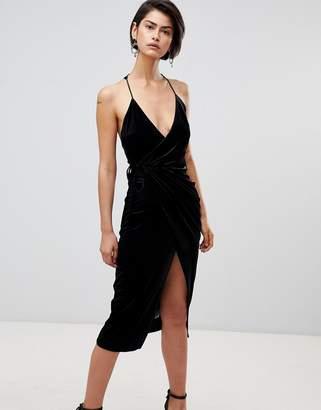 Forever Unique Velvet Wrap Dress