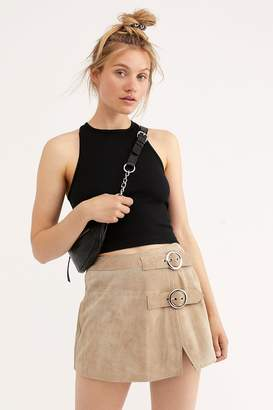 6721856a9 at Free People · Understated Leather Understated Buckle Mini Skirt