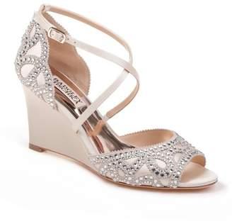 Badgley Mischka Winter Crystal Embellished Wedge Sandal