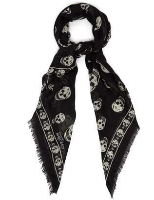 Alexander McQueen Skull-print semi-sheer scarf