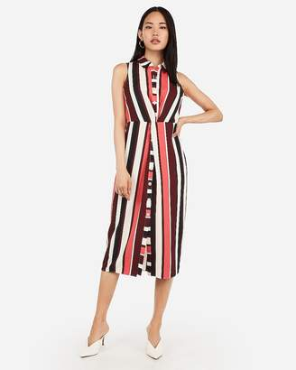Express Striped Button Front Twist Midi Shirt Dress