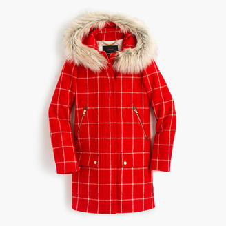 Tall chateau parka in windowpane check $378 thestylecure.com