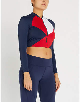Tommy Hilfiger Colour-blocked stretch-jersey rash guard