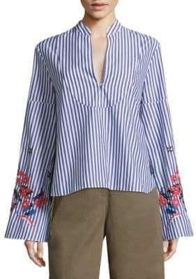 Tanya Taylor Klara Embroidered Striped Bell-Sleeve Cotton Top