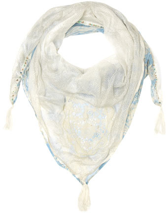 Dorothy Perkins Blue paisley 1/2 and 1/2 scarf
