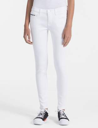 Calvin Klein skinny fit mid rise white ankle jeans