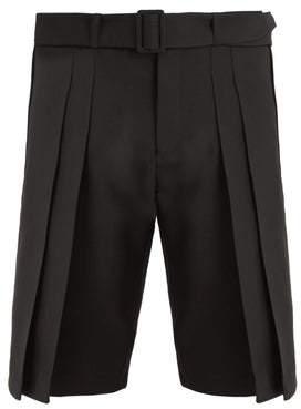Saint Laurent Belted Wide Pleated Wool Shorts - Mens - Black