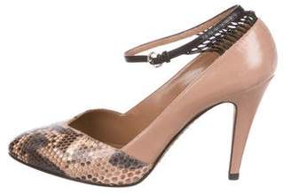 Valentino Leather Snakeskin-Paneled Pumps