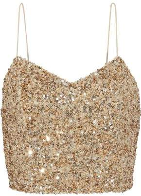 Alice + Olivia Jeans Archer Cropped Sequined Tulle Camisole