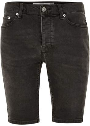 Topman Grey Denim Stretch Skinny Shorts