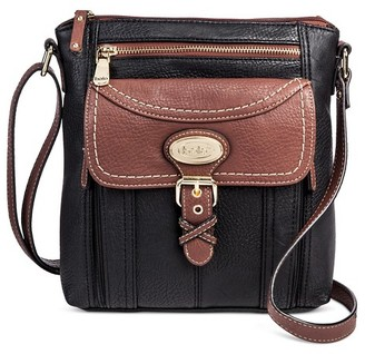 Bolo Women's Faux Leather Crossbody Handbag with Back/Back/Interior Compartments and Zipper Closure - Black/Walnut $29.99 thestylecure.com