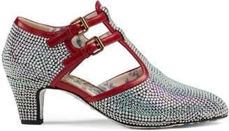 Gucci Crystal mid-heel t-strap pump