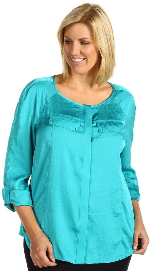 Klein Plus Anne Plus Size Roll Sleeve Blouse (Agua) - Apparel