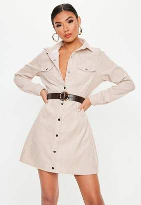 Missguided Stone Cord Skater Shirt Dress