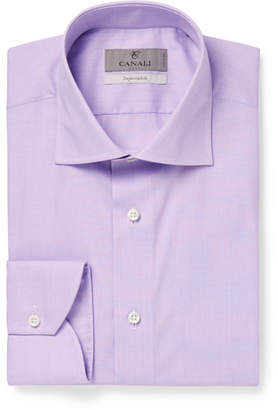 Canali Purple End-on-End Cotton Shirt - Purple