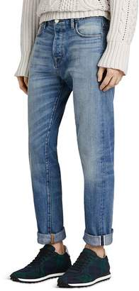 Burberry Washed Japanese Selvedge Straight Fit Jeans in Light Indigo