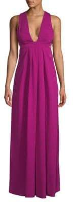 Jill Stuart Plunge Open Back Floor-Length Dress