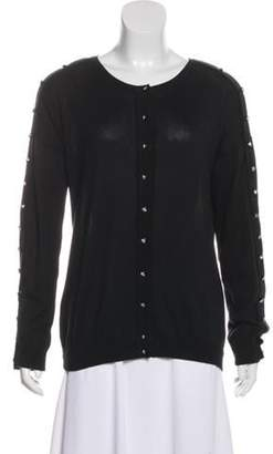 Christopher Kane Scoop Neck Button-Up Cardigan Black Scoop Neck Button-Up Cardigan
