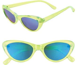 BP Neon 65mm Mirrored Oversize Cat Eye Sunglasses